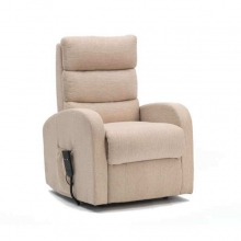 Single Motor Fabric Riser Recliner in Oatmea
